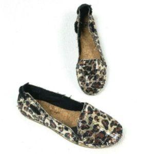 Gianni Bini Sequin Animal Cheetah Espadrille Flats